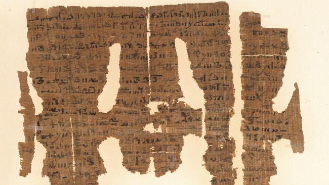 "Part of an 1,800 year-old papyrus written in Demotic, an Egyptian script, containing what scholars call an ""erotic binding spell."" Experts are currently creating a full translation of the papyrus."