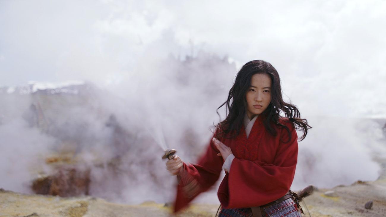 Mulan seen swinging a sword