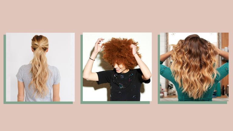 three images showing women wearing three different hair color trends on a beige background