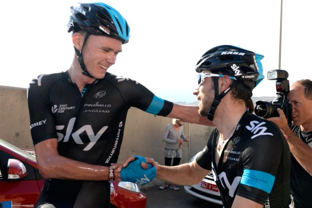 Dario Cataldo congratluates Chris Froome after winning stage five of the 2014 Tour of Oman