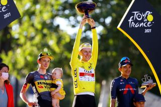 Jonas Vingegaard, Tadej Pogacar and Richard Carapaz on the Tour de France final podium