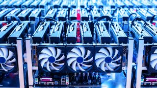 Racks of graphics cards being used for cryptocurrency mining