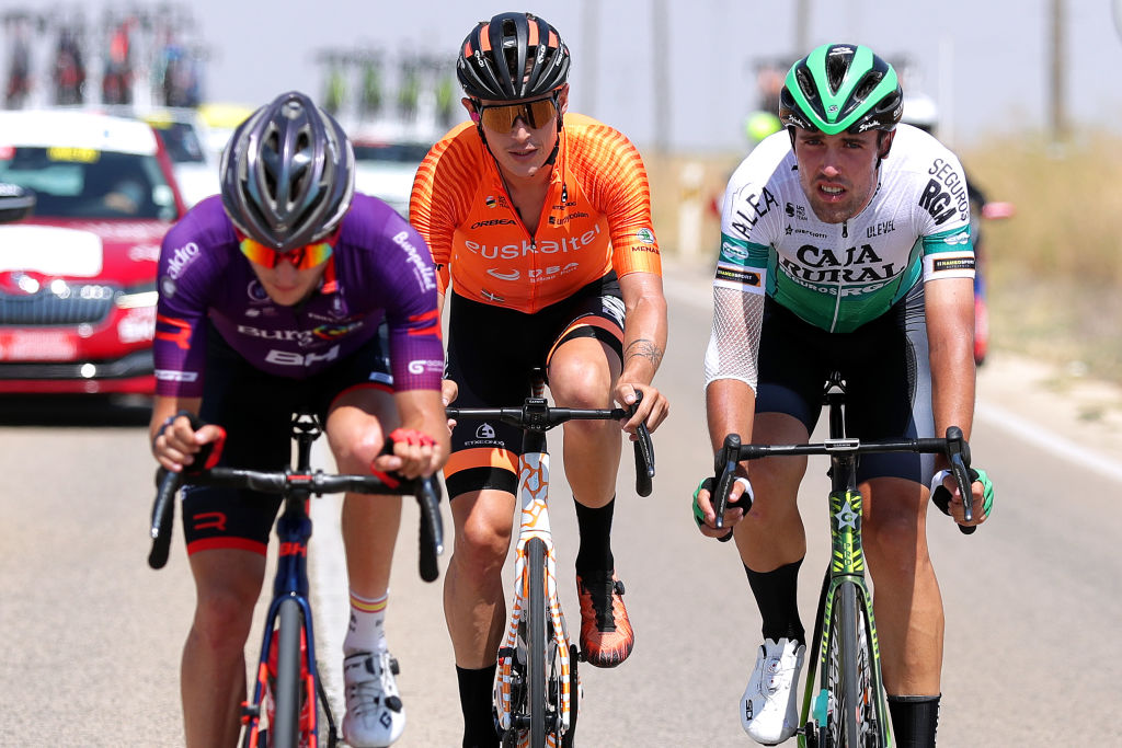 ALBACETE SPAIN AUGUST 18 LR Xavier Mikel Azparren Irurzun of Spain and Team Euskaltel Euskadi and Oier Lazkano Lopez of Spain and Team Caja RuralSeguros RGA in the Breakaway during the 76th Tour of Spain 2021 Stage 5 a 1844km stage from Tarancn to Albacete lavuelta LaVuelta21 on August 18 2021 in Albacete Spain Photo by Gonzalo Arroyo MorenoGetty Images