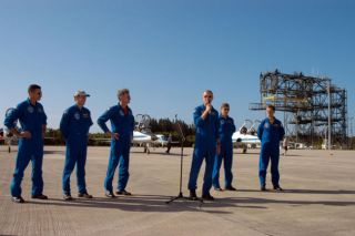Atlantis Astronauts Arrive at NASA Spaceport for Launch Rehearsal