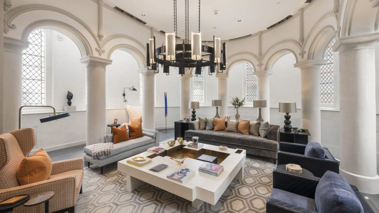 The converted church, with a cinema room and private bar, is on sale for £19.5 million in Chelsea