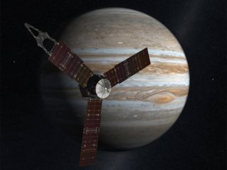 A depiction of the Juno probe arriving at Jupiter.