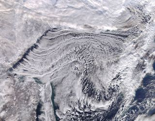 Frigid air blowing over the Sea of Okhotsk