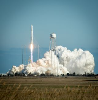 The first private Antares rocket built by Orbital Sciences Corp. launches toward space from Pad-0A of the Mid-Atlantic Regional Spaceport (MARS) at the NASA Wallops Flight Facility in Virginia, Sunday, April 21, 2013.