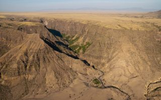A bird's-eye view of a gorge in the East African Rift at Engaruka, Tanzania.