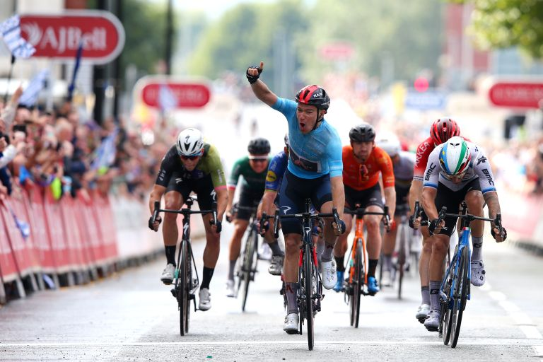 Ethan Hayter sprints to stage five victory and the leader's jersey at the 2021 Tour of Britain