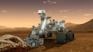Artist's concept depicts the NASA Mars Science Laboratory Curiosity rover, a nuclear-powered mobile robot for investigating the Red Planet's past or present ability to sustain microbial life.