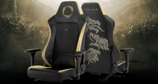 The Elder Scrolls chair in all its golden finery.