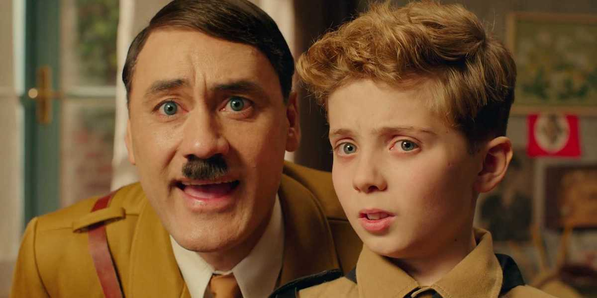 Taika Waititi as Hitler and Roman Griffin Davis in Jojo Rabbit