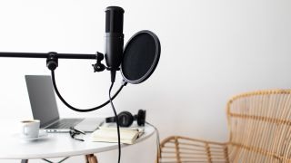 Podcasting microphone set up and ready to record