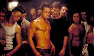 Brad Pitt shirtless smoking Fight Club