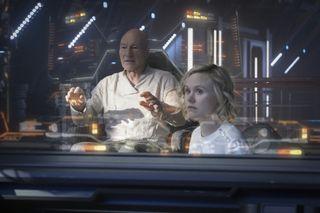 """Sir Patrick Stewart as Jean-Luc Picard; Alison Pill as Agnes Jurati of the the CBS All Access series """"Star Trek: Picard."""""""