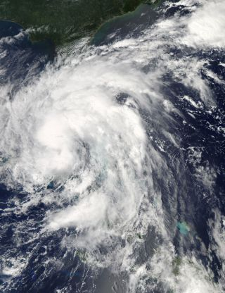 Tropical Storm Isaac seen by satellite on Aug. 26, 2012