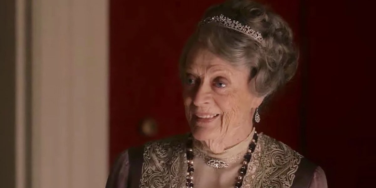 Downton Abbey Violet Crawley dressed for dinner, and smiling