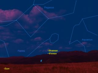 The planets Uranus and Venus will be in close conjunction on the morning of April 23.