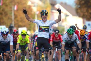 Winner of the second stage Olav Kooij of Jumbo-Visma celebrates at finish line
