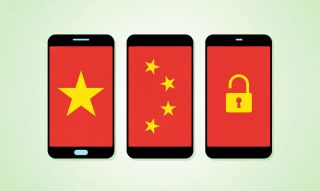 Three generic smartphones side-by-side displaying a montage of the Chinese national flag and a padlock.