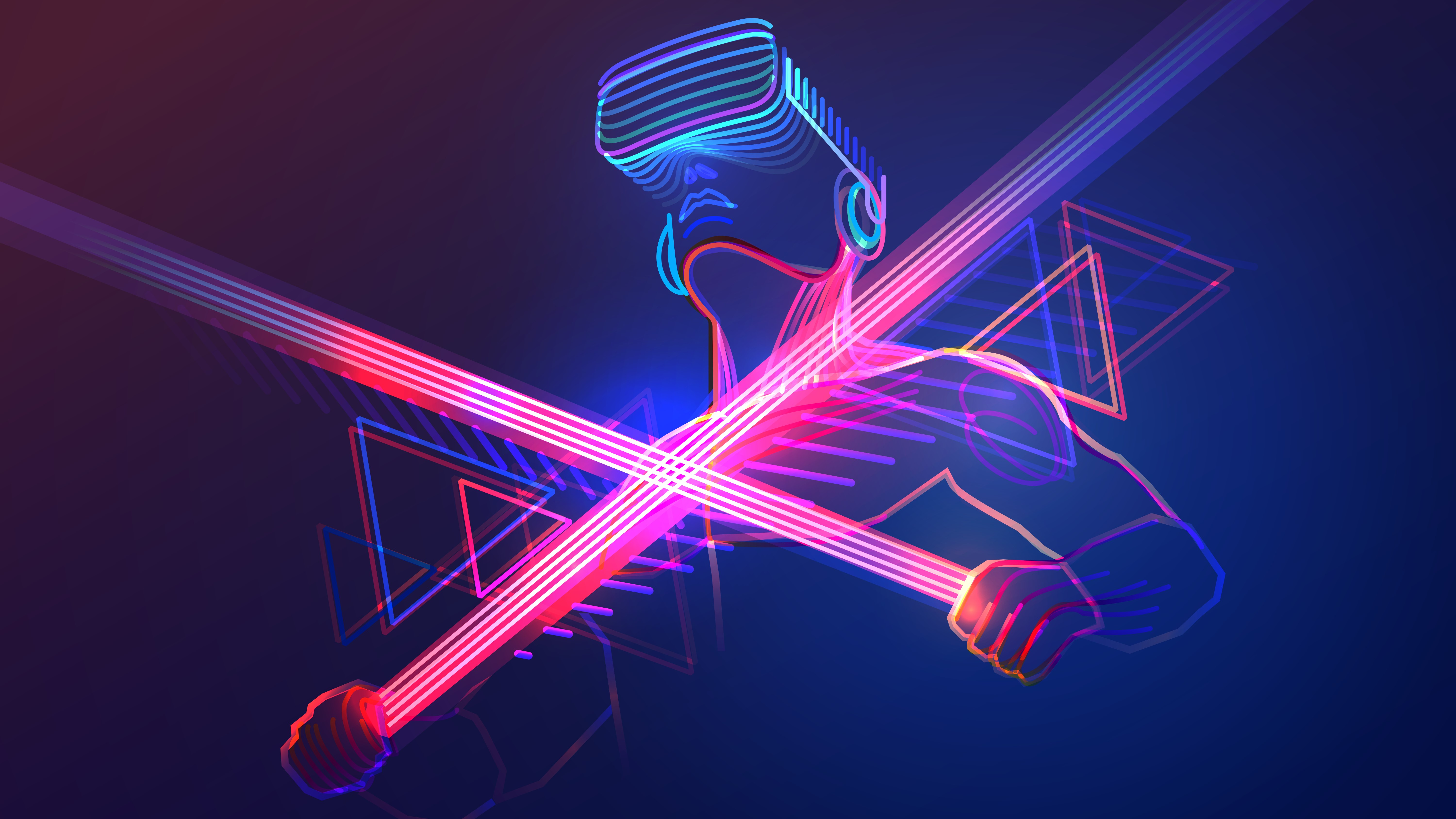 An image of a person in a VR headset holding light swords