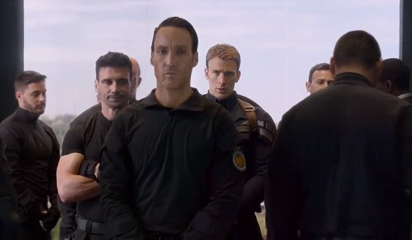 Captain America; The Winter Soldier Cap surrounded by the Strike team