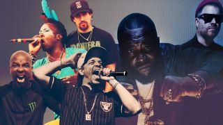 A montage of hip hop musicians