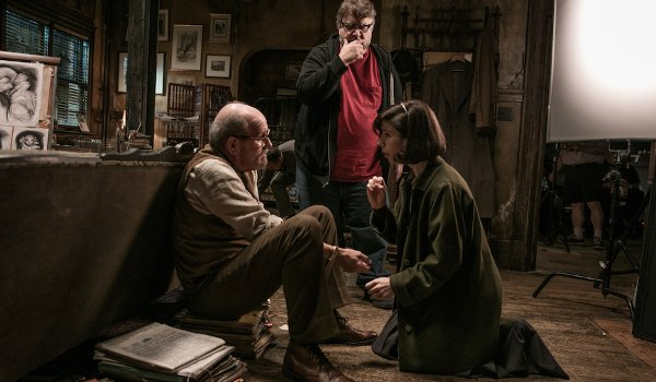 The Shape of Water Richard Jenkins Guillermo del Toro Sally Hawkins filming in a 1960's apartment