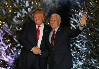 President-elect Donald Trump and Vice President-elect Mike Pence appear together during a stop on his 'USA Thank You Tour 2016' on Dec. 16 in Orlando, Florida. The Trump administration has expressed interest in reviving the National Space Council, which t