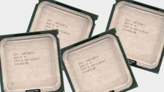 Several Intel Engineering Sample (ES) CPUs on a gray background.