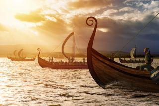 Viking ships on the water in Norway.