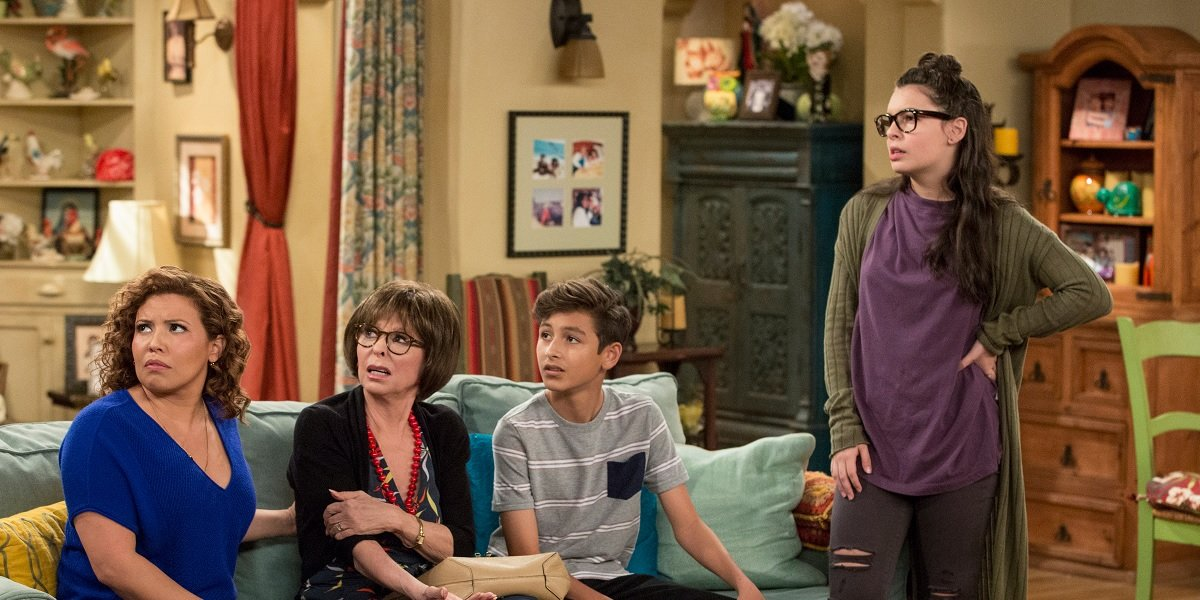 Rita Moreno, Justina Machado, Isabella Gomez, and Marcel Ruiz in One Day at A Time