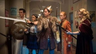 A cast of young people dressed in role playing clothes play Gryphons & Gargoyles in Riverdale
