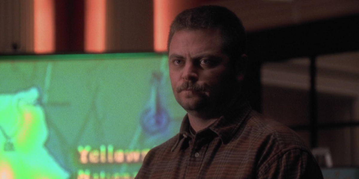 The West Wing Nick Offerman Jerry looking serious about wolves