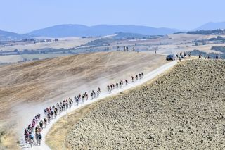 Illustration picture shows the pack of riders in action during the Strade Bianche one day cycling race 184km men from and to Siena Italy Saturday 01 August 2020 BELGA PHOTO DIRK WAEM Photo by DIRK WAEMBELGA MAGAFP via Getty Images