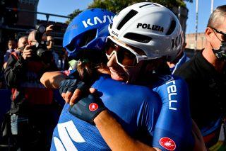 Elisa Balsamo celebrates winning the rainbow jersey at the UCI World Championships