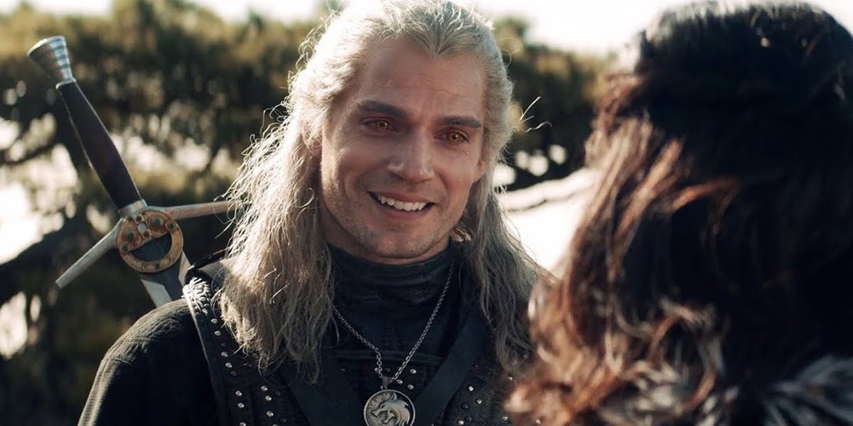 Henry Cavill smiles as Geralt of Rivia in The Witcher Season 1 on Netflix