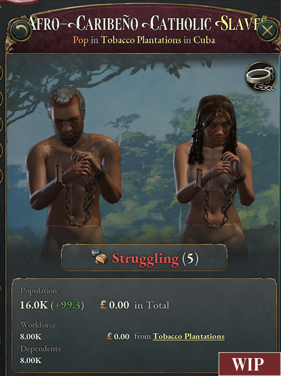 An in-development image of video game victoria 3 relating to the slavery system.