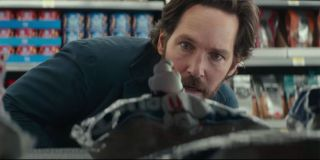 Paul Rudd with mini Stay Puft in Ghostbusters: Afterlife Trailer
