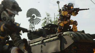 Call of Duty: Warzone Season 5 - Warzone operators battle atop a tank.