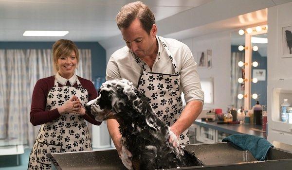 Show Dogs Natasha Lyonne Will Arnett grooming a police dog