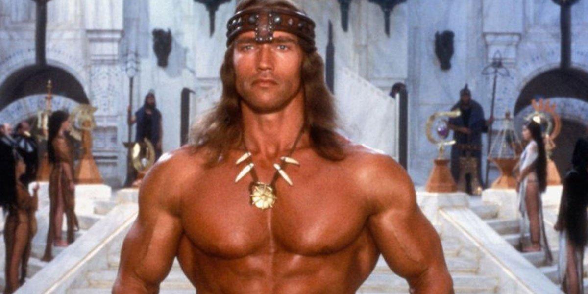 Arnold Schwarzenegger shirtless in Conan the Barbarian movie