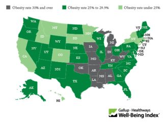 A map of the United States showing the nation's most and least obese states.