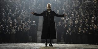 Fantastic Beasts: The Crimes of Grindelwald Johnny Depp stands in front of his followers