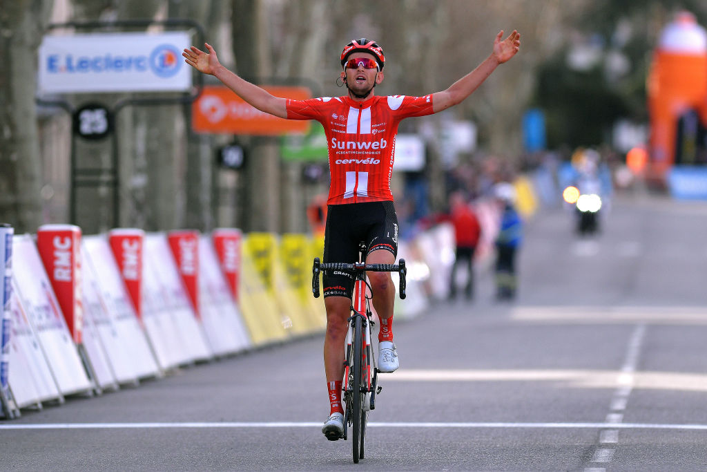 APT FRANCE MARCH 13 Arrival Tiesj Benoot of Belgium and Team Sunweb Celebration during the 78th Paris Nice 2020 Stage 6 a 1615km stage from Sorgues to Apt 234m ParisNice parisnicecourse PN on March 13 2020 in Apt France Photo by Luc ClaessenGetty Images