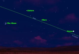 Crescent Moon and 3 Bright Planets Gather This Week