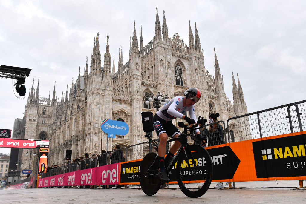 MILANO ITALY OCTOBER 25 Tao Geoghegan Hart of The United Kingdom and Team INEOS Grenadiers White Best Young Rider Jersey during the 103rd Giro dItalia 2020 Stage 21 a 157km Individual time trial from Cernusco sul Naviglio to Milano ITT girodiitalia Giro on October 25 2020 in Milano Italy Photo by Stuart FranklinGetty Images
