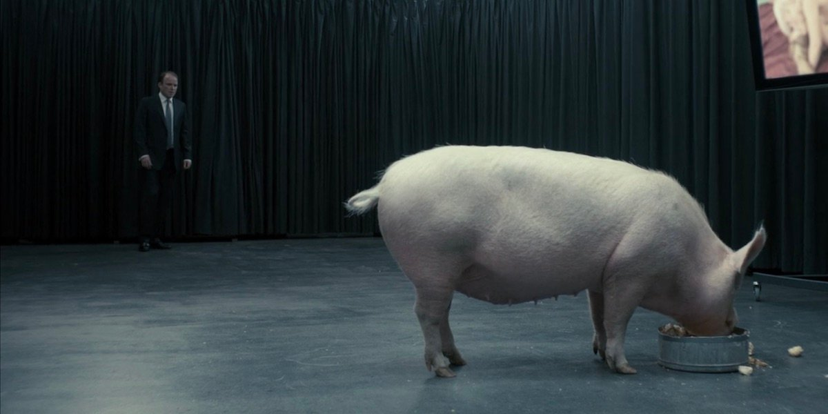 Rory Kinnear and the infamous pig from Black Mirror Season 1