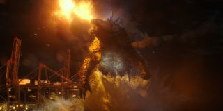Godzilla surrounded by fiery destruction in Godzilla vs. Kong